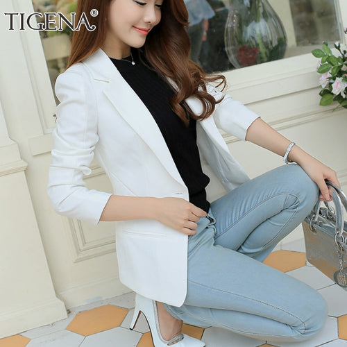 TIGENA Ladies Blazer 2018 Long Sleeve Blaser Women Suit jacket Female Feminine Blazer Femme Pink Blue White Black Blazer