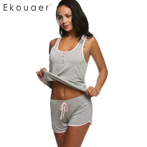 Ekouaer Women Short Sexy Pajamas Tank and Camisole Cami Set New Spring and Summer Home Furnishing clothing Cotton Nightwear Suit