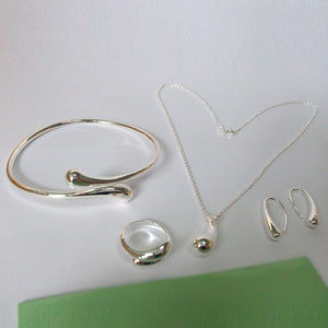 Fashion Wedding Bridal Jewelry Set 925 Stamped Silver Water Drop Bangles+Necklace+Rings+Earrings Sets for Women