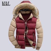 9 Color Fashion Brand Winter Men's Down Jacket With Fur Hood Hat Slim Men Outwear Coat Casual Thick Mens Down Jackets 4XL,UMA347