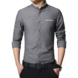 New Fashion Casual Men Shirt Long Sleeve Mandarin Collar Slim Fit Shirt Men Korean Business Mens Dress Shirts Men Clothes M-5XL