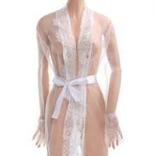 2017 Newest Fashion Women Sexy Lace Robe Dress Breathable Lace G-string Dress Bathrobes Pajamas Sleepwear