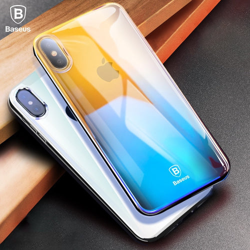 Baseus Phone Case For iPhone X 10 Capinhas Gradient Color Ultra Thin Slim PC Hard Back Cover Case For iPhoneX Shell Coque Fundas