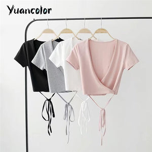 Summer Sexy V-neck knitted top tees Women black short sleeve bustier crop top Party white tops tank slim female camisole