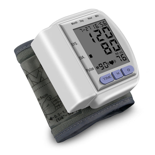 Automatic Home Wrist Blood Pressure LCD Digital Display Screen Pulse Sphygmomanometer and Tonometer Monitor Heart Beat Meter