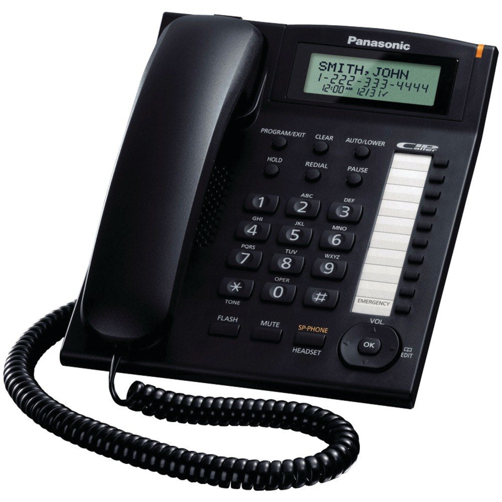 Panasonic KX-TS880B Single-Line Corded Integrated Phone System with 10 One-Touch Dialer Stations (Black) (