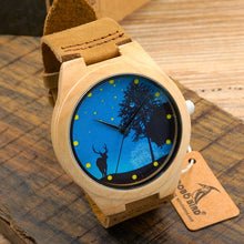 BOBO BIRD Pop Blue Dial Wood Watches Men's Top Design Genuine Band Bamboo Wooden Watches Women Casual Wrist Watch male Relogio