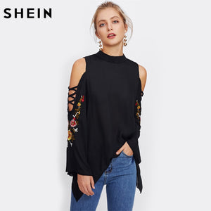 f0a0b65eb419 SHEIN Casual Women Tops Crisscross Open Shoulder Embroidery Flare Sleeve  Blouse Black Stand Collar Long Sleeve Blouse
