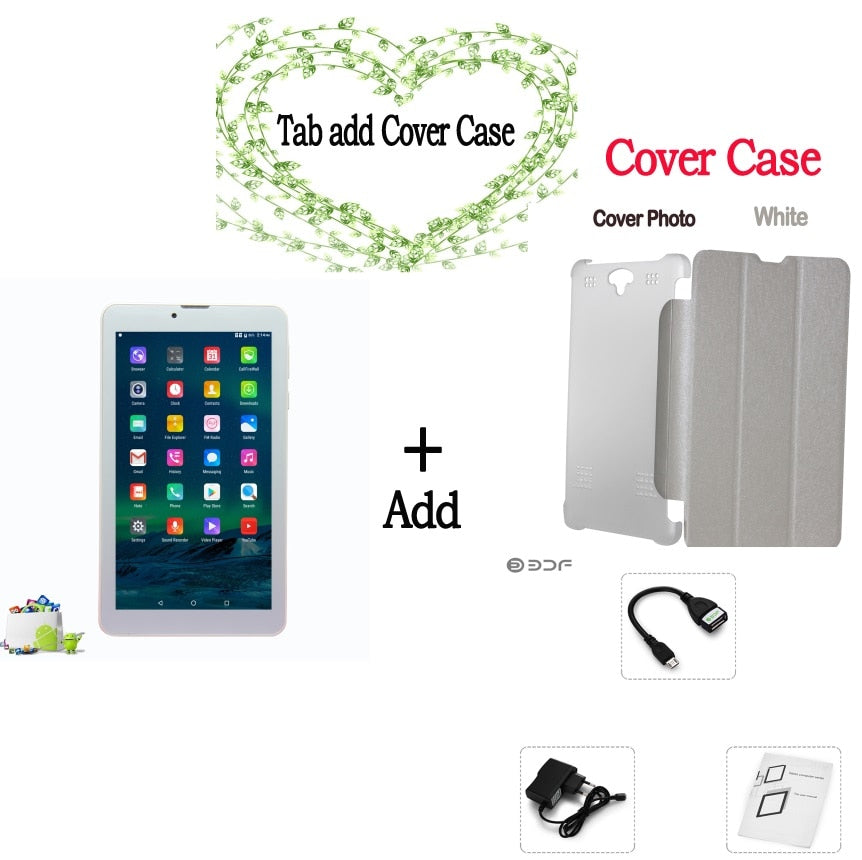 7 Inch 3G Phone Call Quad Core HD LCD Android 6.0 Tablets pc Bluetooth 8GB Mini Pad SIM Card phone Leather cover
