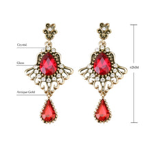 YIMLOI 2018 Luxury Turkish Red Glass Earrings For Women Vintage Look Feather Wings Glass Crystal Rose Gold Earring