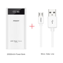 PISEN Fast Charge Power Bank 20000 mAh 2 USB Portable Charger PowerBank 18650 External Battery For Xiaomi Mi A1 Phone PoverBank