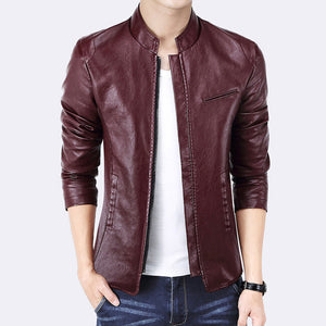 New Brand Men's Jackets PU Leather Jacket Punk Red Leather Jackets Zipper Men Chupas De Cuero Hombre