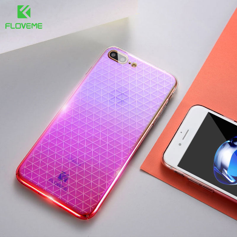 FLOVEME For iPhone 7 Case Luxury Gradient Blue Ray Light Hard PC Phone Cases For iPhone 8 7 Plus Grid Cover Shell Coque Capinhas