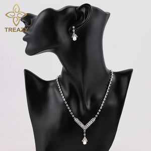TREAZY Simple V Shape Teardrop Bridal Bridesmaid Jewelry Sets Crystal Fashion Wedding Jewelry Necklace Earrings Set for Women