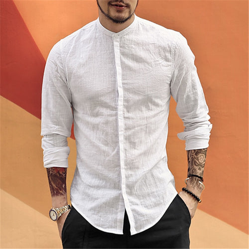 Casual Mandarin Collar Shirts Men Cotton Linen Designer Brand Slim Fit Man Shirts Long Sleeve White Shirts Man Clothes summer