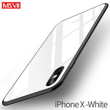 Msvii for iPhone X Glass Case for iPhone X Coque Silicone Shock Proof Luxury Slim Tempered Glass Cover for iphonex back