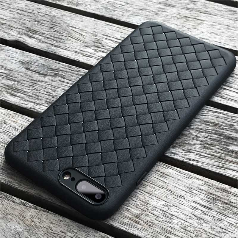 for iphone X 10 iphone 6s 6 Plus Case Weave Leather Skin Soft Silicon Black Coque Cover for iphone 8 plus iphone 7 plus Case X 6