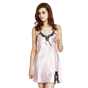 Sleepwear pyjamas women Home Clothing Nightgowns Lace robe V-neck Nightgown Silk Satin Night Dress sexy lingerie women Home Suit