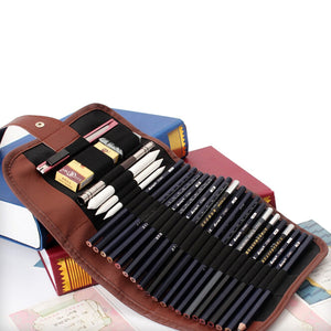 1PC Retro Canvas Artists Pencil Case 24 holes roll brush pen pouch for artist students Makeup office school bag