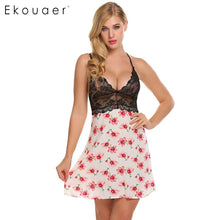 Ekouaer Women Sleep Drsss Lace Patchwork Spaghetti Strap Nighties Sleepwear Dress Sleeveless Home Dress Spring Summer 2018 New