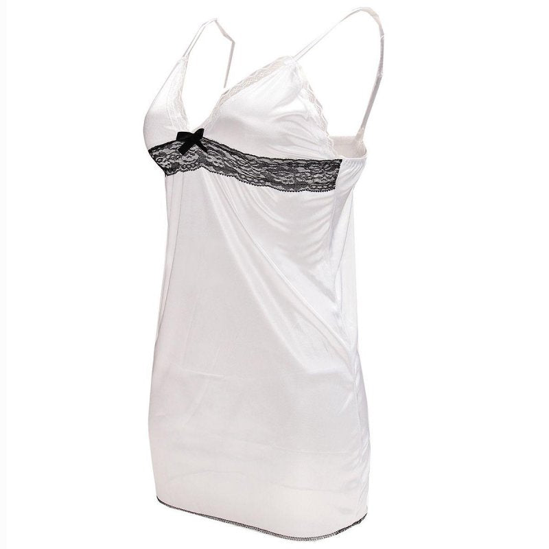 Sexy Women Lingerie Lady Underwear Lace Night Dress White Babydoll Sleepwear with G-string Sleeping Wear Lack Tight Bow