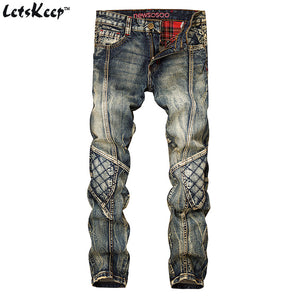 LetsKeep 2017 New patchwork Denim jeans for men biker skinny ripped jeans punk mens plaid Designer jeans pants clothing, MA356