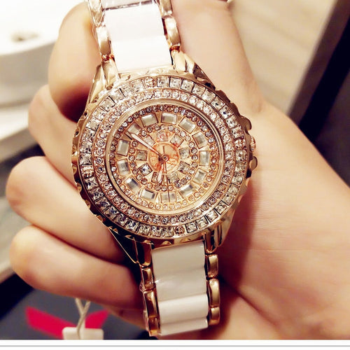 Luxury Brand Fashion Jewelry Bracelet Stainless Steel Ceramic Rhinestone Watches Women Ladies Watch Quartz Wristwatch For Gift