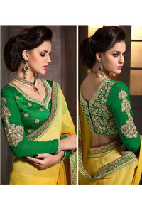 Yellow-Green Color Designer Party Wear Georgette Saree