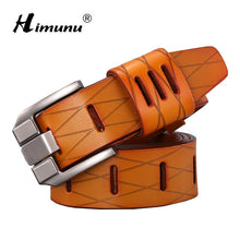 [HIMUNU] New Cowskin Genuine leather Men's belt Brand Belt for Man Pin Buckle jeans Vintage Top quality Design Accessories Belts