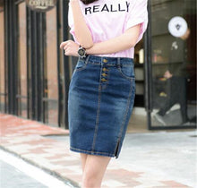 7XL Plus Size Denim Skirt 2017 Elegant Women Slim Mini Denim Skirt Simple Sexy Side Split Slim Jeans Women Skirts Pencil Skirt