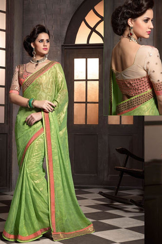 Light Green Color Designer Party Wear Georgette Saree