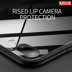 MSVII for iPhone 7 Case Tempered Glass Back Cover Soft Silicon Frame 6 6s Hybrid Protective Housing for iPhone 8 Plus X 10
