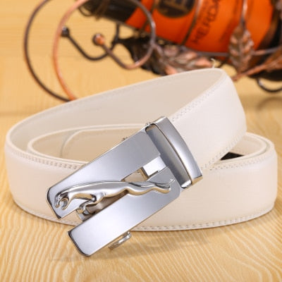 New Designer letter  buckle Automatic Buckle Cowhide Leather belt men jaguar designer white belts mens belts luxury 110-125cm