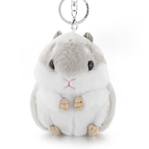 Dalaful Mini Hamster Keyrings Keychains Faux Rabbit Fur Pompom Fluffy Trinkets Car Handbag Pendant Key Chian Ring Holder K356