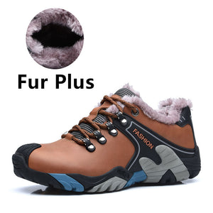 VESONAL Genuine Leather Winter Warm Fur Male Shoes For Men Fahion Casual Lovers Sneakers Wear Resisting Walking Couples Footwear