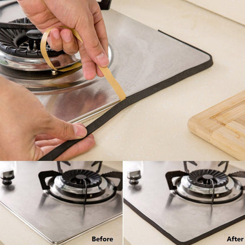 2Rolls/set 2m Kitchen Gas Stove Gap Sealing Adhesive Tape Anti Flouring Dust Proof Waterproof Sink Stove Crack Strip Gap Sealing