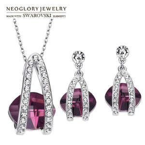 Neoglory Austria Crystal & Czech Rhinestone Jewelry Set Elegant Geometric Design For Women Necklace & Earrings Trendy Gift