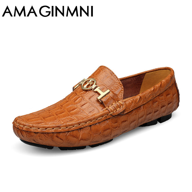 AMAGINMNI 2017 Summer Luxury Driving Breathable Genuine Leather Flats Loafers Men Shoes Casual Fashion Slip Large size 36-49