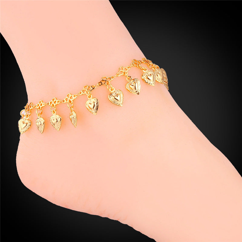 U7 Heart Charms Ankle Bracelet On Leg Gold Color Summer Jewelry Wholesale Anklet Bracelet Foot Jewelry For Women Gift A318