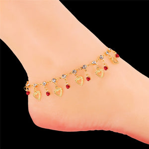 U7 Trendy Heart Anklet Summer Jewelry Gift Red Crystal Gold Color Ankle Foot Chain Bracelet For Women A301