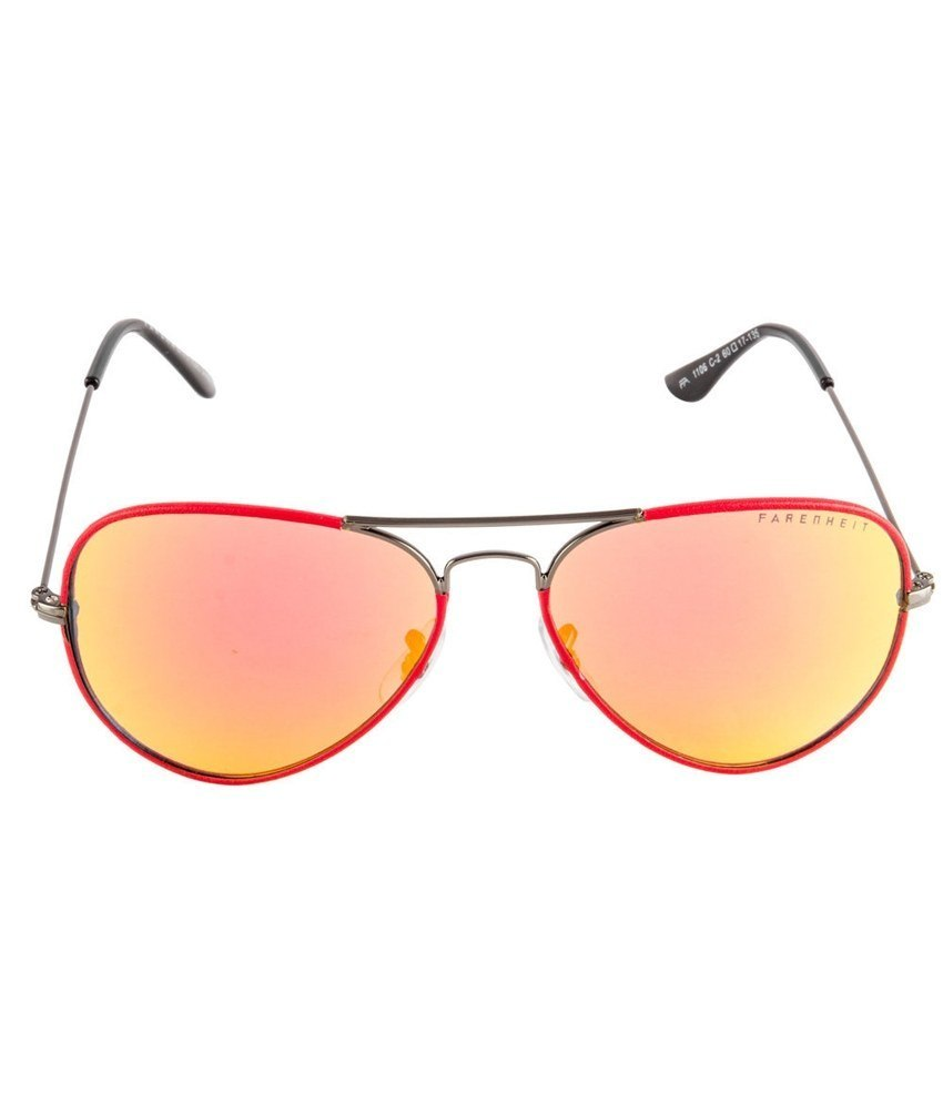 Farenheit Red-Blue Unisex Aviator Sunglasses