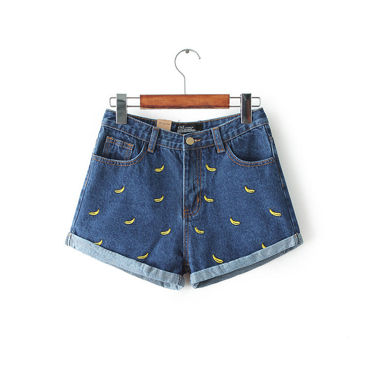 Denim Shorts Women Summer Banana Flower Embroidery Cotton Denim Shorts 2016 curling plus size casual female waist Jeans Shorts