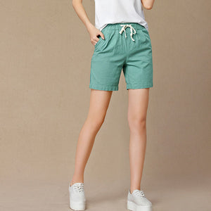 New 2018 Summer shorts women high waist Fashion Pleated Loose solid cotton linen feminino short for women candy color shortsXXXL