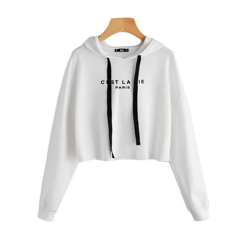 SweatyRocks White Drop Shoulder Raw Hem Crop Hoodie Women's Letter Print Long Sleeve Casual Pullovers Sweatshirt 2017 Fall Top