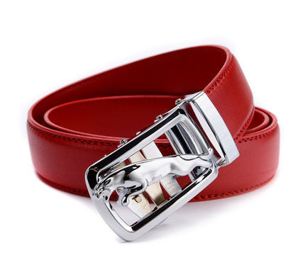 HOT Automatic buckle belt men jaguar fashion business Leather luxury red belt for men free shipping