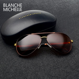 2017 High quality New Pilot sunglasses men Polarized luxury brand vintage Mens Sun glasses Driving UV400 Sunglass With Box