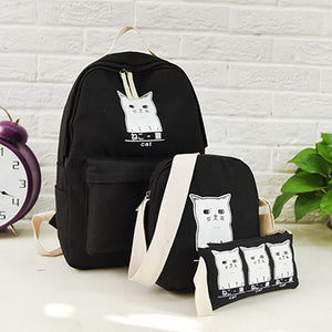 Women Backpack Cat Printing Canvas School Bags For Teenager Girls Preppy Style 3 Set/PC Rucksack Cute Book Bag Mochila Feminina