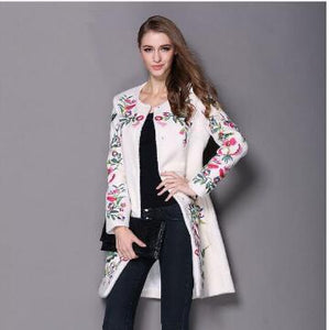 2017 women winter coat embroidered neck long sleeved O button female coat elegant fashion coat
