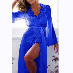 Newest Fashion Women Sexy Lace Robe Dress Breathable Lace G-string Dress Bathrobes Pajamas Sleepwear