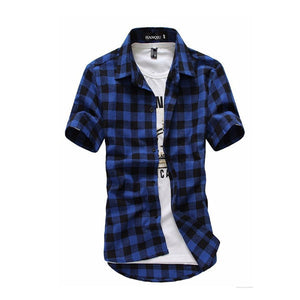 Red And Black Plaid Shirt Men Shirts 2018 New Summer Fashion Chemise Homme Mens Checkered Shirts Short Sleeve Shirt Men Blouse
